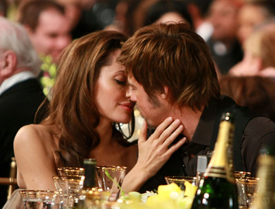 Actors Angelina Jolie and Brad Pitt backstage at the TNT/TBS broadcast of the 14th Annual Screen Actors Guild Awards at the Shrine Auditorium on January 27, 2008 in Los Angeles, California. 1531_DK_0200.JPG