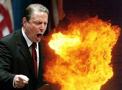 Al Gore Shooting Fireball Out Of His Mouth