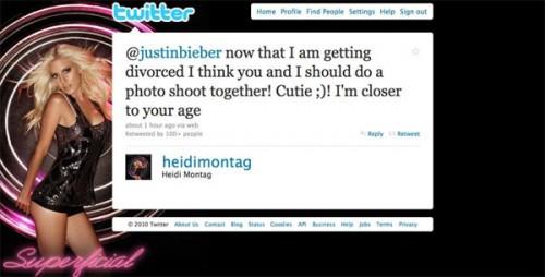 Justin Bieber Heidi Montag Tweet