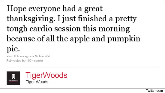 Tiger Woods Twitter Message