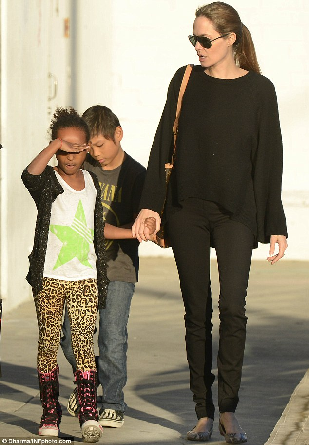Angelina Jolie Takes Pax and Sahara Out Shopping