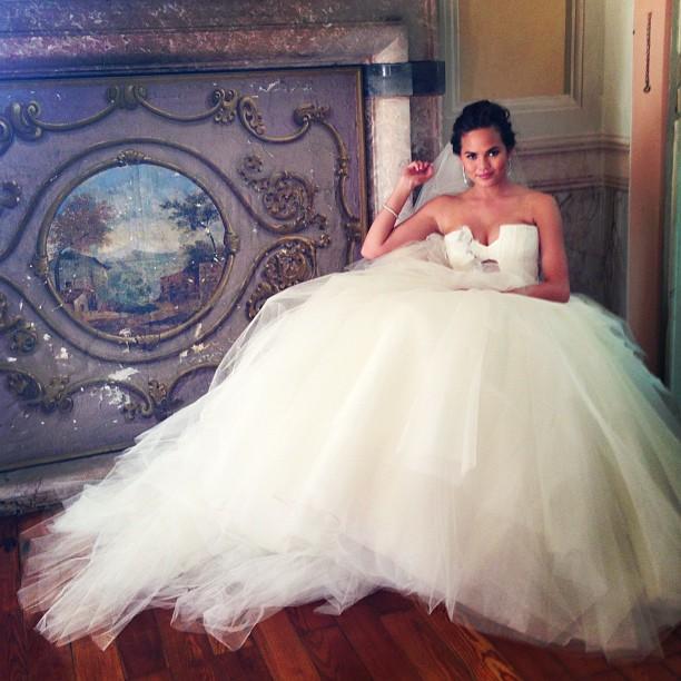 Chrissy Teigen shows off her Vera Wang wedding gown. (Instagram)