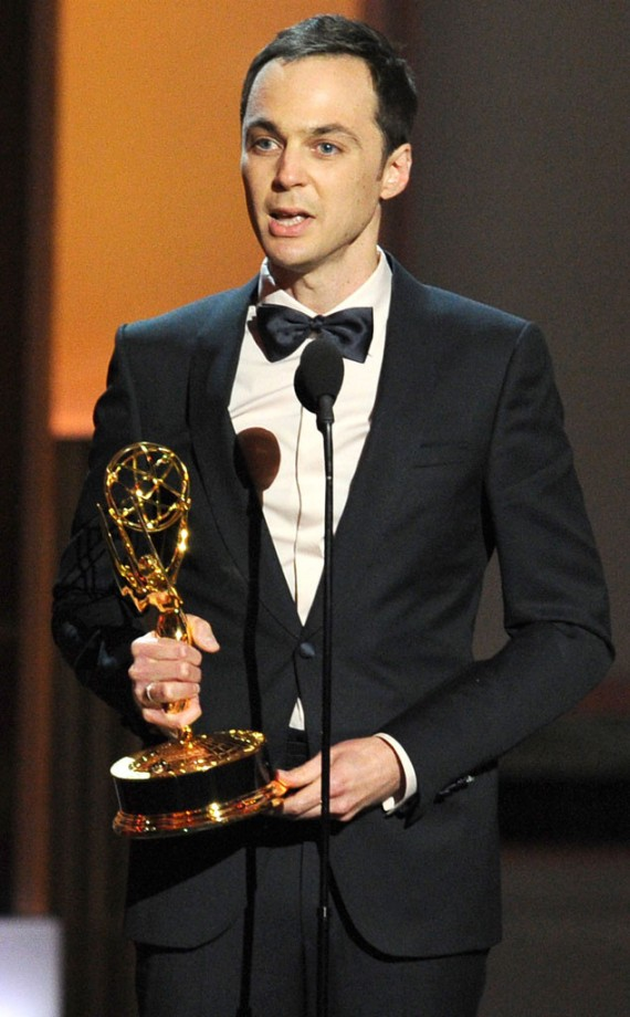 Jim Parsons, for the third time, wins lead actor in the comedy category for his role as Sheldon Cooper. (Getty)