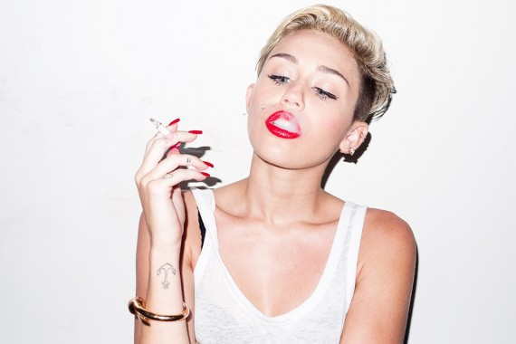 Miley Cyrus: weeds, yes; babies, no. (Terry Richardson)