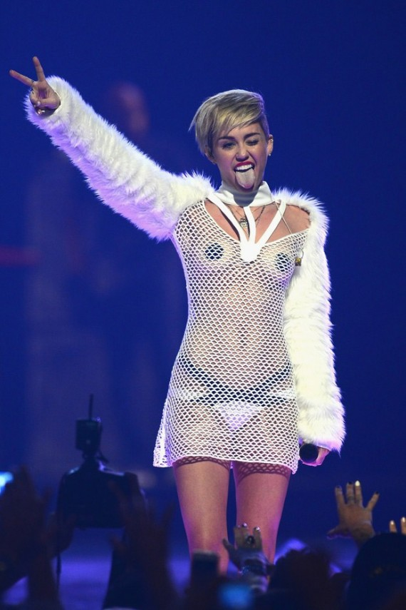 Miley Cyrus never failed to shock audiences at the iHeartRadio Music Festival. (Getty)
