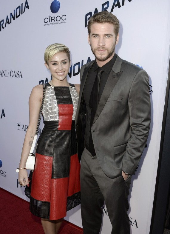 "Miley Cyrus and Liam Hemsworth's last public appearance together was at last month's ""Paranoia"" premiere. (Getty)"