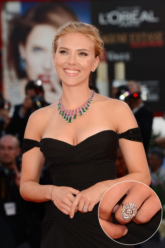 "Scarlett Johansson gets a ""ringlett"". (Getty)"