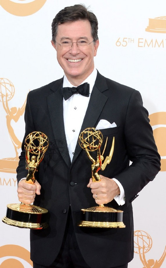 """Stephen Colbert finally unseats Jon Stewart's """"The Daily Show"""" after 10 years of ruling the awards. (Getty)"""