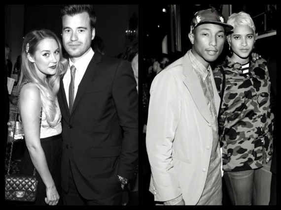 Partnering up: Lauren Conrad with William Tell, Pharrell Williams with Helen Lasichanh. (WireImage/Fashion Daily Mag)
