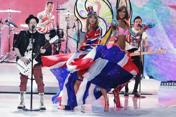 Singer Swift, model Kloss and rock band Fall Out Boy perform during the annual Victoria's Secret Fashion Show in New York
