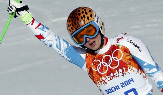 Austria's Fenninger reacts in the finish area during the women's alpine skiing Super G competition during the 2014 Sochi Winter Olympics at the Rosa Khutor Alpine Center