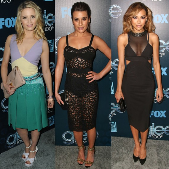 Dianna Agron, Lea Michele and Naya Rivera at Glee's 100'th!