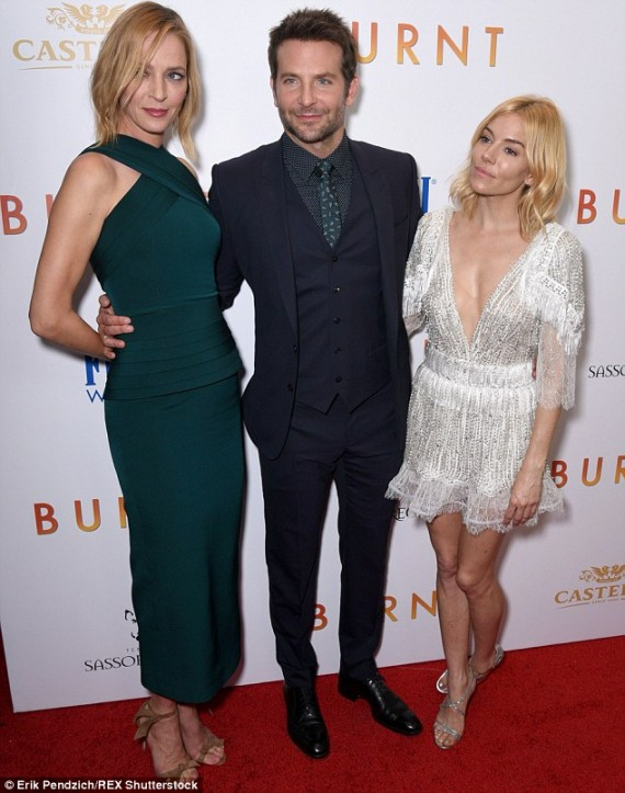 Bradley Cooper, Uma Thurman, and Sienna Miller