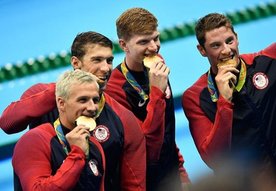 Michael Phelps and team win