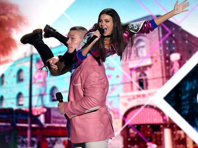 Victoria Justice and John Cena at the Teen Choice 2016